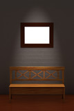 Wood bench with empty frame in minimalist interior poster