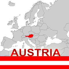 AUSTRIA MAP AND FLAG