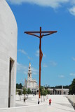 Modern cross on the Sanctuary of Fatima poster