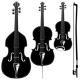 Stringed instruments in detailed vector silhouette. poster