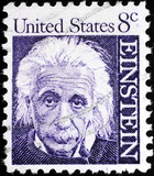 Albert Einstein portrait on US postage stamp poster