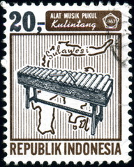 Republik Indonesia. Alat Musik Pukul. Timbre postal. 1967
