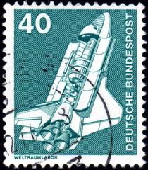 Deutsche Bundespost. Navette spatiale. Timbre postal.