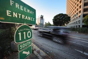 Car entering freeway