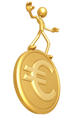 Gold Guy Balancing On Gold Euro Coin