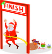 Santa Claus crossing the finish line