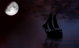 Sailing ship under full Moon