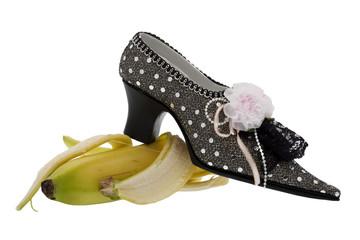 Damenschuh, ausrutschen auf Banane