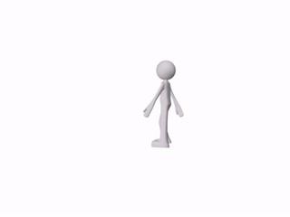 person walks in 3d