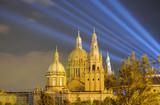 Palau Nacional illuminated at night. Barcelona Spain poster