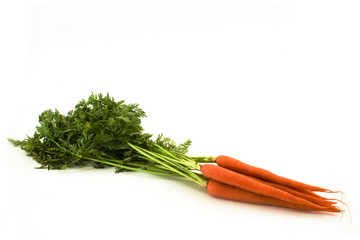 Carrots set against a white background