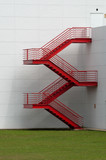 Red External Metal Staircase