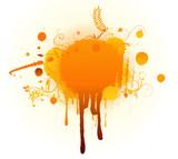 Grunge Floral Background with big orange blot poster