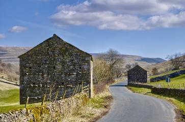 Stone barns in countryside