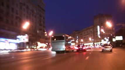 driving on evening street