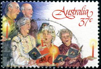 Australia. Chants de Noël. Timbre postal oblitéré.