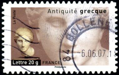 France. Antiquité grecque. Timbre postal oblitéré.