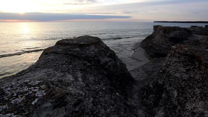 Limestone pillar at dusk, Sweden