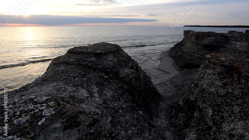Limestone pillar at dusk, Sweden
