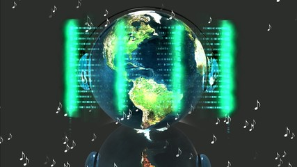 Music 3D world with headphones and digital effects