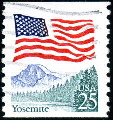 Usa. Yosemite. Timbre postal oblitéré.