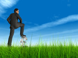 high resolution 3d green grass and virtual man poster