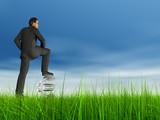 high resolution 3D virtual man standing on a 3D euro symbol poster