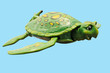 A cute green turtle with a blue background.