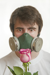 young man in respirator mask