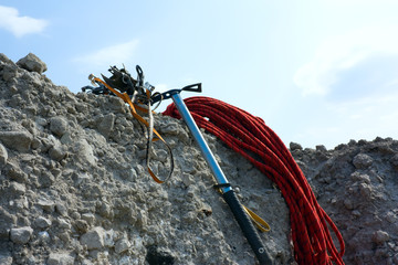 mountain sporting equipment on a rock
