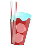 Red cherry drink on white background