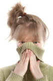Girl hiding face with hands and sweater collar poster