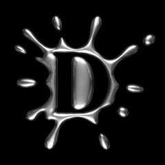 Liquid metal letter D - alphabet symbol