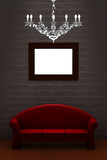 Red couch with empty frame and luxury chandelier in minimalist i poster
