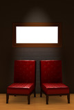 Two red chairs with empty frame in minimalist interior poster
