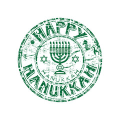 Happy hanukkah grunge rubber stamp