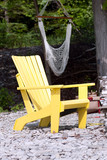 Lone yellow adirondack chair