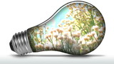Renewable energy light bulb flowers animated - HD