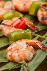 Grilled shrimps, tropical