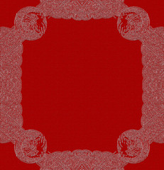 Red Background with Ornamented White Frame