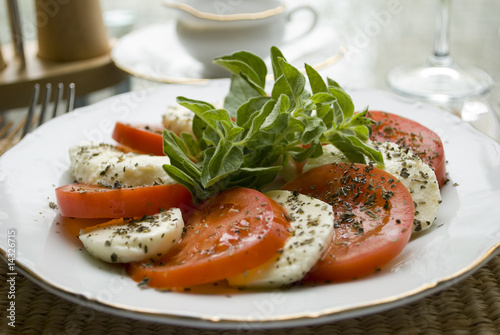 Mozzerella with tomato and basilica