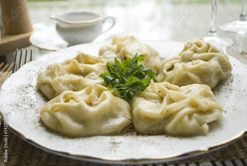 Traditional kazakh and uzbek dish - manti