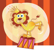 roleta: Vector Circus lion. Trained lion acts in circus show.