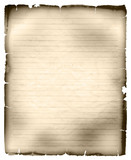 Sheet of old tattered ruled paper poster