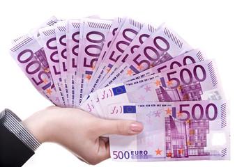 Money in female hands.