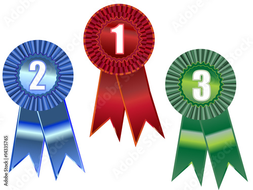 Award ribbons with positions