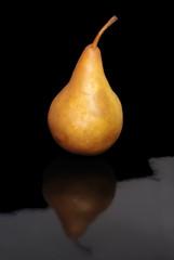 Bosc pear on black