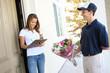 Pretty Woman Receiving Flowers
