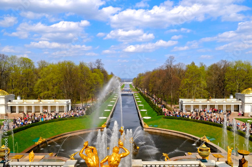 the view of Samson fountain and gulf in Peterhof, Russia