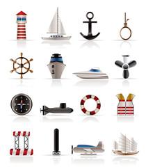 Marine, Sailing and Sea Icons - Vector Icon Set